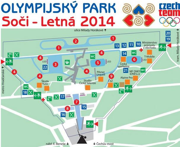 Olympijský park Soči - Letná 2014 - plánek