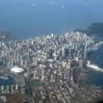 Ptačí pohled na část Vancouveru